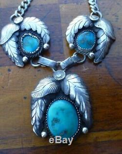Vintage Navajo Native American Necklace Sterling Silver Turquoise