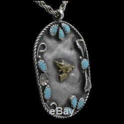 Vintage Navajo Native American Sterling Silver Barrel Racer Turquoise Pendant