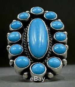 Vintage Navajo Native American Sterling Silver Blue Gem Turquoise Cluster Ring