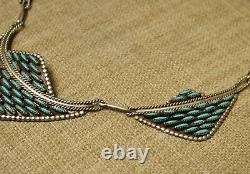 Vintage Navajo Native American Sterling Silver Needlepoint Turquoise Necklace