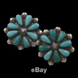 Vintage Navajo Native American Sterling Silver Turquoise Cluster Post Earrings