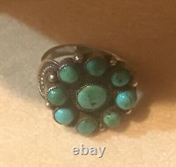 Vintage Navajo Native American Sterling Silver Turquoise Cluster Ring Size 7