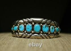 Vintage Navajo Native American Sterling Silver Turquoise Cuff Bracelet