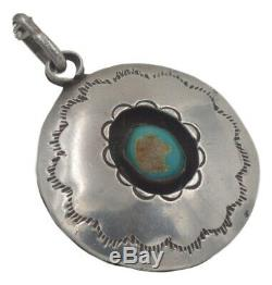Vintage Navajo Native American Turquoise Shadow Box Sterling Silver Pendant