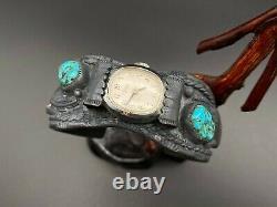 Vintage Navajo Native Indian Turquoise Coral Sterling Silver Watch Bracelet