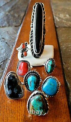 Vintage Navajo Native Sterling For scrap or REPAIR Turquoise RING JEWEL Lot of 8