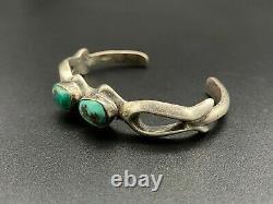 Vintage Navajo Native Sterling Silver Sand Cast Turquoise Smaller Bracelet Cuff
