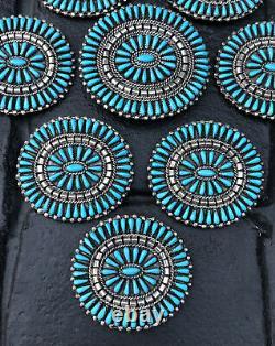 Vintage Navajo Needle Point Blue Turquoise & Sterling Silver Concho Belt Set JHN