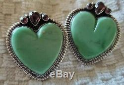 Vintage Navajo Nez Native American Sterling Silver Turquoise Heart Earrings 23gm