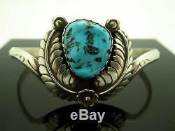 Vintage Navajo Old Pawn Blue Nugget Turquoise Leaf Motif Cuff Bracelet Size 6.5