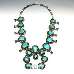 Vintage Navajo Old Pawn Sterling Silver Turquoise Squash Blossom Necklace 221g