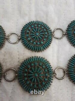 Vintage Navajo Petit Point Sterling Silver Turquoise Signed $3,500 Concho Belt