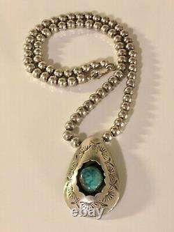 Vintage Navajo RC Sterling Silver Turquoise Pendant 6mm Ball Bead Necklace 925