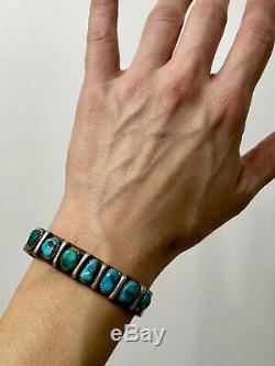 Vintage Navajo Rare Kingman Turquoise Sterling Silver Cuff Bracelet