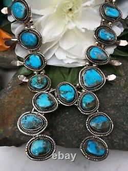 Vintage Navajo Rich Blue Morenci Turquoise Sterling Squash Blossom Necklace Wow