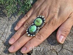 Vintage Navajo Ring Royston Turquoise Sterling Silver Handmade Jewelry sz 8.5