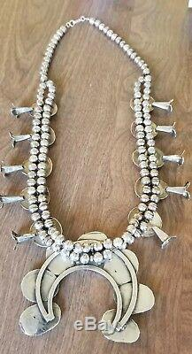 Vintage Navajo Royston Turquoise Sterling Silver Squash Blossom Necklace