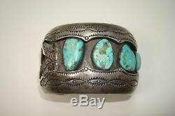 Vintage Navajo Shadowbox Bisbee Turquoise Heavy Sterling Turquoise Watch Cuff