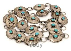 Vintage Navajo Signed 34 inch Concho Belt Sterling Silver Turquoise