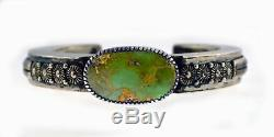 Vintage Navajo Signed Eddie Chaco 925 Sterling Silver Turquoise Cuff Bracelet 6