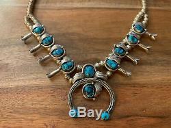 Vintage Navajo Signed Sterling Turquoise Squash Blossom Necklace