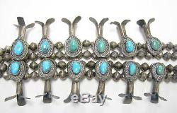 Vintage Navajo Signed Turquoise Sterling Bench Bead Squash Blossom Necklace