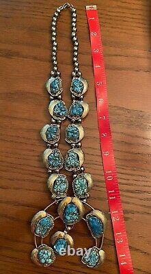 Vintage Navajo Silver Metal Leaves Turquoise Squash Blossom Necklace Handmade