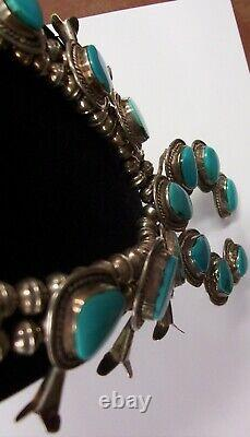 Vintage Navajo Silver Sleeping Beauty Turquoise Squash Blossom Necklace 24