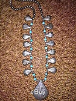 Vintage Navajo Silver Turquoise Reversible Shadowbox Squash Blossom New Mexico