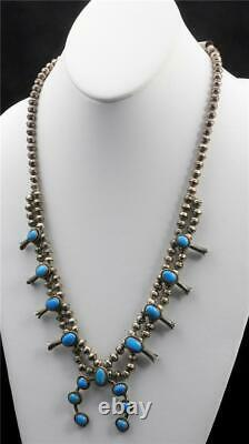 Vintage Navajo Silver Turquoise Squash Blossom Necklace Dainty Naja 22 Length