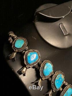 Vintage Navajo Squash Blossom Necklace Sterling Silver & Turquoise Signed 6.9oz