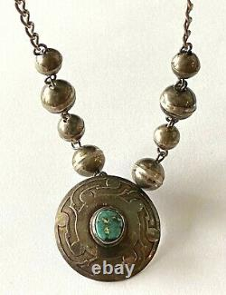 Vintage Navajo Sterling 925 Turquoise Pendant Bead Necklace Choker By Designer