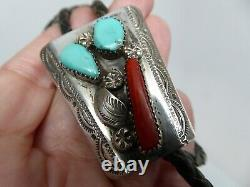 Vintage Navajo Sterling Blue Turquoise Red Coral Feather Leather Bolo Tie