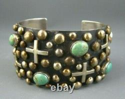 Vintage Navajo Sterling Crosses Turquoise Cuff Bracelet Signed Ronnie Willie 98G