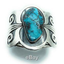Vintage Navajo Sterling Silver Bisbee Turquoise Split Shank Wide Cuff Bracelet