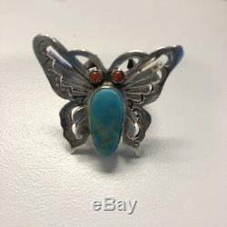 Vintage Navajo Sterling Silver Butterfly Turquoise And Coral Ring Size 6.5