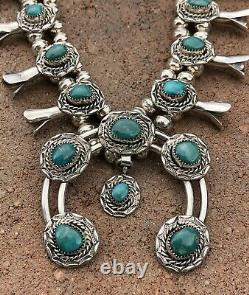 Vintage Navajo Sterling Silver Carico Lake Turquoise Squash Blossom Necklace 23