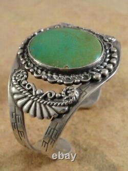 Vintage Navajo Sterling Silver & Cerrillos Turquoise Cuff Bracelet (sm. Sz.)