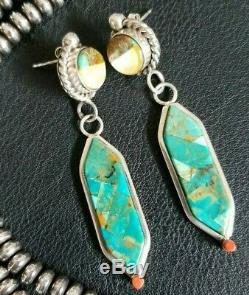 Vintage Navajo Sterling Silver Coral Turquoise Inlay Native American Earrings
