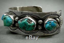 Vintage Navajo Sterling Silver Kingman Turquoise Cuff Bracelet