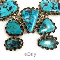 Vintage Navajo Sterling Silver Kingman Turquoise Squash Blossom Necklace