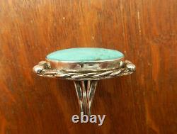 Vintage Navajo Sterling Silver Large Blue Turquoise Ring Size 8.5