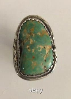 Vintage Navajo Sterling Silver / Natural Kingman Turquoise Ring Size 8 1/2