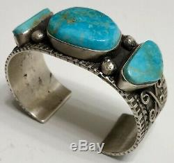Vintage Navajo Sterling Silver Royston Turquoise Cuff Bracelet HEAVY NICE