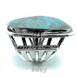 Vintage Navajo Sterling Silver Royston Turquoise Split Shank Wide Cuff Bracelet