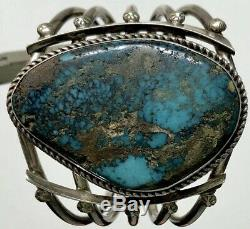 Vintage Navajo Sterling Silver Spiderweb Turquoise Cuff Bracelet Heavy