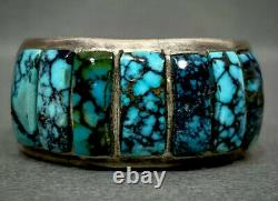 Vintage Navajo Sterling Silver Spiderweb Turquoise Inlay Ring HEAVY 21 Grams