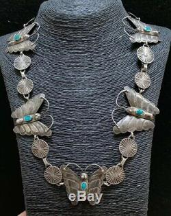 Vintage Navajo Sterling Silver Turquoise Butterfly Necklace 24 Inches