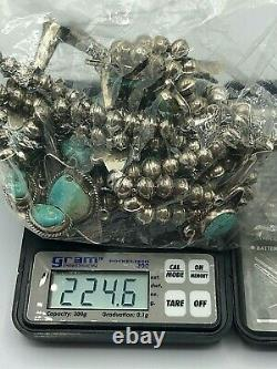 Vintage Navajo Sterling Silver & Turquoise Cluster SQUASH BLOSSOM Necklace 224g