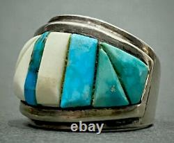 Vintage Navajo Sterling Silver Turquoise Cobblestone Cornrow Inlay Ring